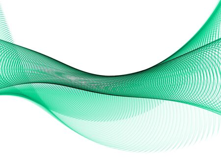 velvet ribbon: Green abstract curves on black background- 3D rendered fractal.