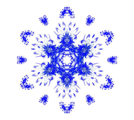 Rendered beautiful blue snowflake isolated on white background. photo