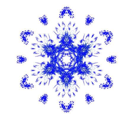 Rendered beautiful blue snowflake isolated on white background. Stock Photo - 5792398