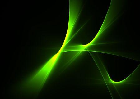 Les flammes abstraits verts sur un 3D élégant fond noir rendu fractal.