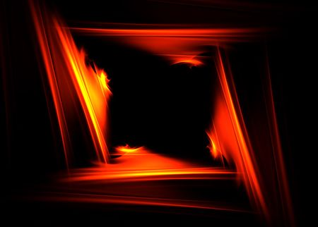 Fire frame on black background: beautiful 3D rendered fractal.