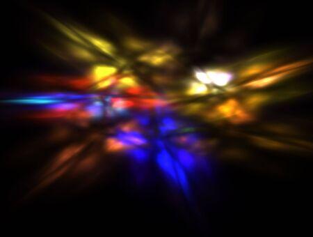 Blurred multicolor flames on black: 3D rendered fractal. photo