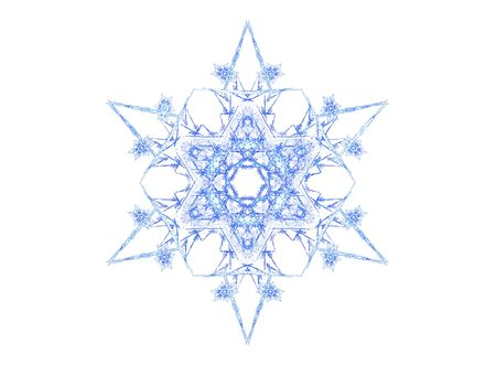 3D rendered blue snowflake isolated on white background. Stock Photo