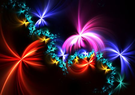 Fireworks explosion: beautiful 3D rendered fractal over black background. photo