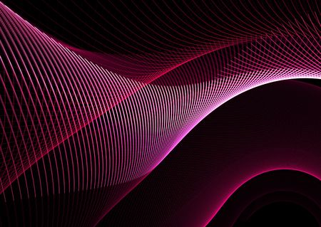 velvet ribbon: Red wavy patterns on black: beautiful 3D rendered fractal. Stock Photo