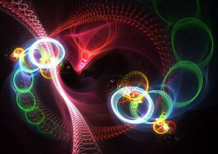Multicolor abstract shapes: beautiful 3D rendered fractal over black background. photo