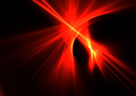 Fire flames on black background- beautiful 3D rendered fractal.