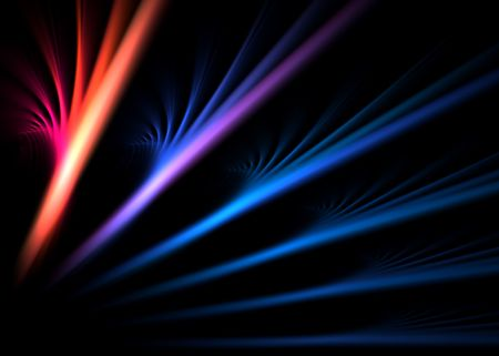 Multicolor abstract flames on black background: 3D rendered fractal. photo