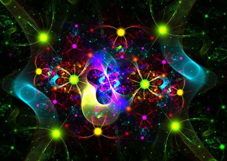 3D rendered fractal: multicolor abstract shapes over black background. photo
