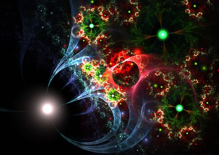 Abstract colorful fractal over black background- rendered 3D illustration. Stock Photo