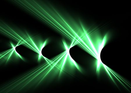 Green curved flames over black: abstract 3D rendered fractal. Stock Photo - 6133581