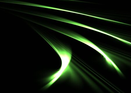 Green curved flames over black: abstract 3D rendered fractal. Stock Photo - 6116003