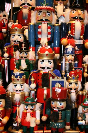 Multicolor Nutcraker army- traditional toys on Christmas market (Weihnachsmarkt) in Hamburg (Germany).