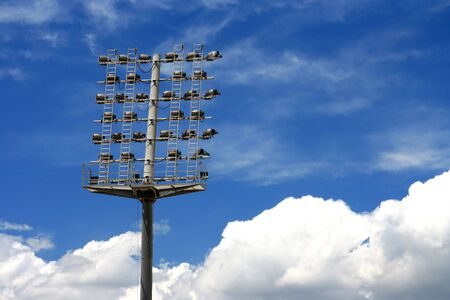lighting system: Stadiumarena lighting system with beautiful sky on the background.