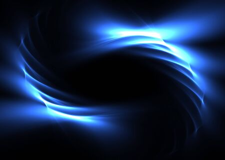 Blue abstract curves on a black background-3D rendered fractal.
