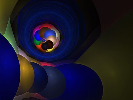 Multicolor abstract shapes on black background-3D rendered fractal. Stock Photo
