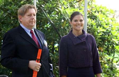 STOCKHOLM, SWEDEN- SEPTEMBER 3: Her Royal Highness Crown Princess Victoria and Lennart Persson at the ground-breaking ceremony for Sweden's new university hospital, New Karolinska Solna - Stockholm (Sweden), 3rd of September, 2010. Editorial