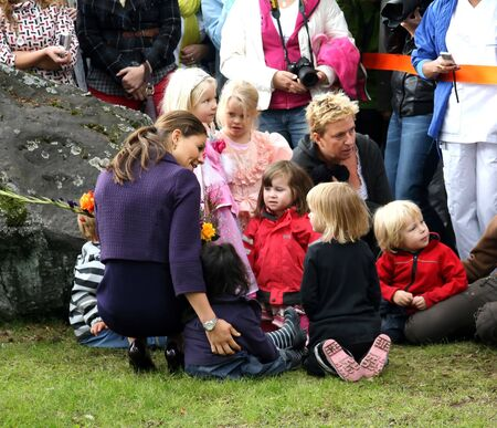 STOCKHOLM, SWEDEN- SEPTEMBER 3: Her Royal Highness Crown Princess Victoria and Her little fans at the ground-breaking ceremony for Sweden's new university hospital, New Karolinska Solna - Stockholm (Sweden), 3rd of September, 2010.