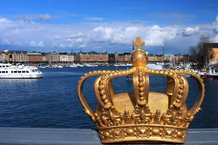 Royal golden crown in Stockholm city (Sweden) - selective focus.
