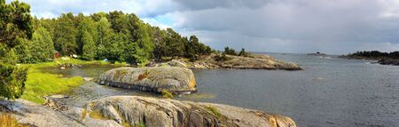 Panorama view in  Sweden, one of the beautiful islands in Stockholm archipelago. Stock Photo
