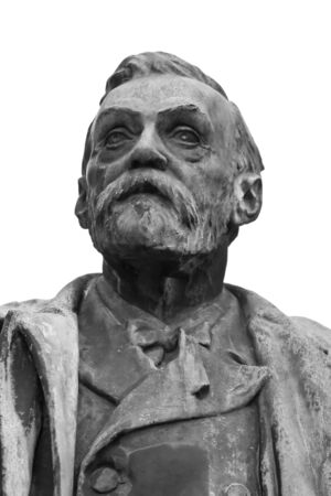 education in sweden: The Alfred Nobel statue in Stockholm (Sweden) -close-up details (black and white tones). Stock Photo