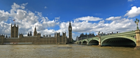 Panoramic view of the House of Parliament, Big Ben Tower  and Westminster bridge  London, England  during summer