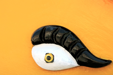 Extreme close-up details of a painted eye on a traditional malteze fishing boat, luzzu. Stock Photo