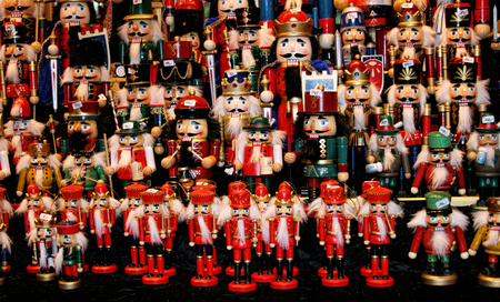 Multicolor Nutcraker army- traditional toys on Christmas market Weihnachsmarkt in Hamburg Germany.
