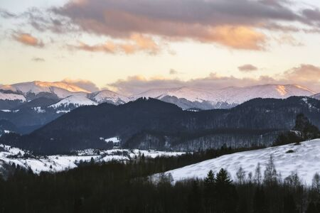 The high peaks of the Carpathians on a winter evening