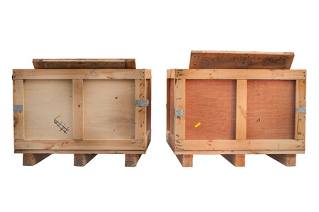 isolated on white: wood storage boxes isolated white, front view Stock Photo