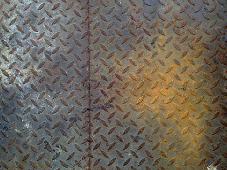 diamond plate background: The damage metal diamond plate background Stock Photo