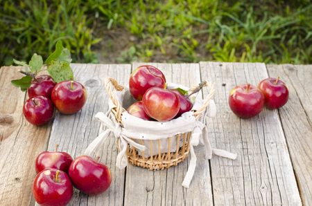 wood agricultural: Apples on a wooden table. agricultural background. Seed. Grass and wood. fruit