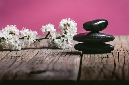 turqoise: Black stone treatment. Spa and wellness concept. One pink flower on a wooden table and pink background. Lovely flowers. Festive greeting card. Pastel color.. Spring.