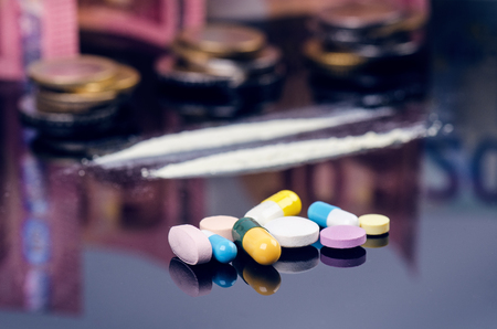 Drug addict woman.. Young woman using a drug. Addcition and drugs concept. Crime and desease