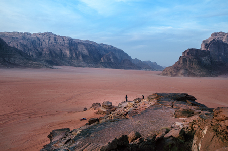 Jordan national park Wadi Rum desert. Beautiful view and panoramatic picture. Natural background. Sunset in a desert.