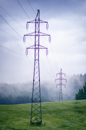 High voltage towers in a middle of forests and meadow. Electricity pylon with dark atmosphere in a nature. Rainy day. Power transmition towers. Stockfoto - 101681117