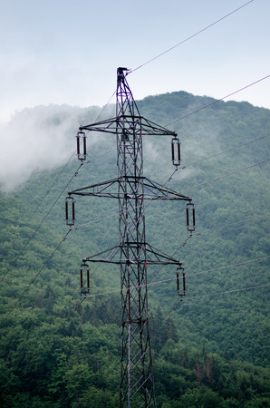 High voltage towers in a middle of forests and meadow. Electricity pylon with dark atmosphere in a nature. Rainy day. Power transmition towers. Stockfoto - 101681119