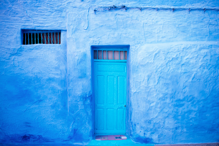Chefchaouen - blue city of Morocco. Detail on a blue doors and walls. Blue town street. Reklamní fotografie