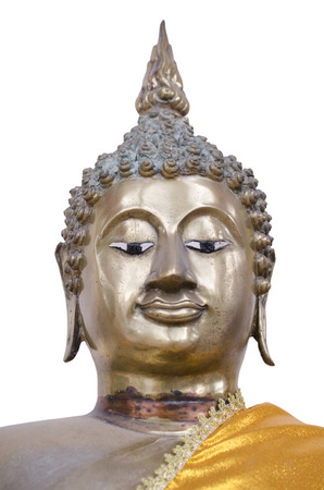 Buddha face made with bronze