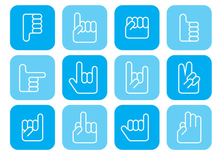 hand signs: set of 12 hand signs designs