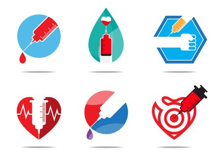 vaccine: Six vaccine flat design for logo, symbol, icon, and sign