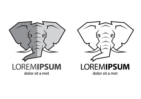 angry elephant: An elephant head logo with color and line