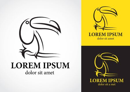 tucan: Tucan bird logo design with white yellow and black background Stock Photo