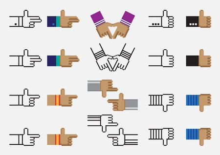 hand sign: Ten hand sign vector pixel design