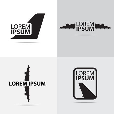 airplane wing: four different air plane logo design
