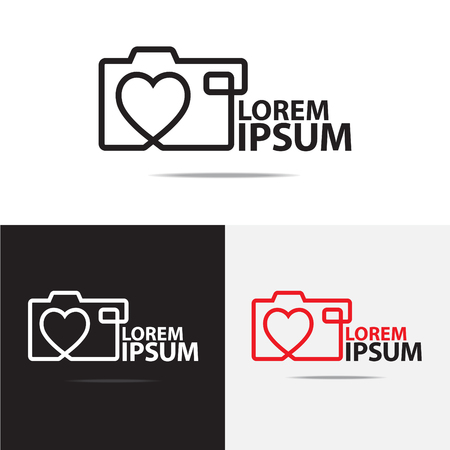 camera: love digital camera logo design Stock Photo