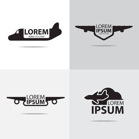 vier verschillende logo's van het vliegtuigontwerp