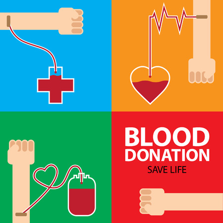 hematology: blood donation poster design with colorful background
