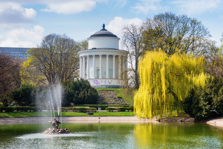 Warsaw, Poland. Beautiful Park view with pond and small temple