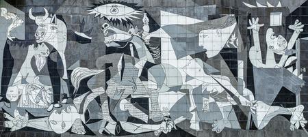 Tegelreproductie van Picasso's Guernica-schilderij, Guernica - Spanje Stockfoto